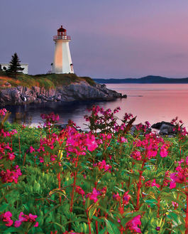 LIGHTHOUSE AT SUNSET, CANADA